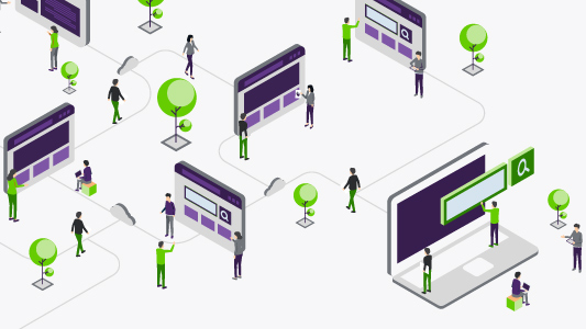 People connecting via a network