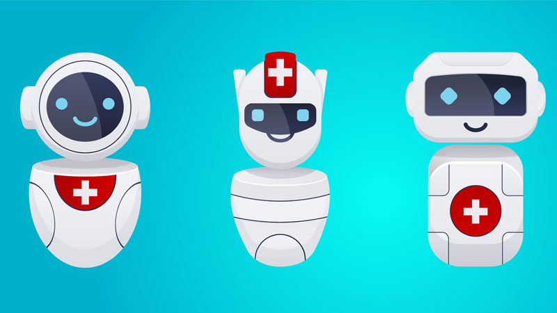three cartoon healthcare chatbots wearing a medical symbol standing in a row