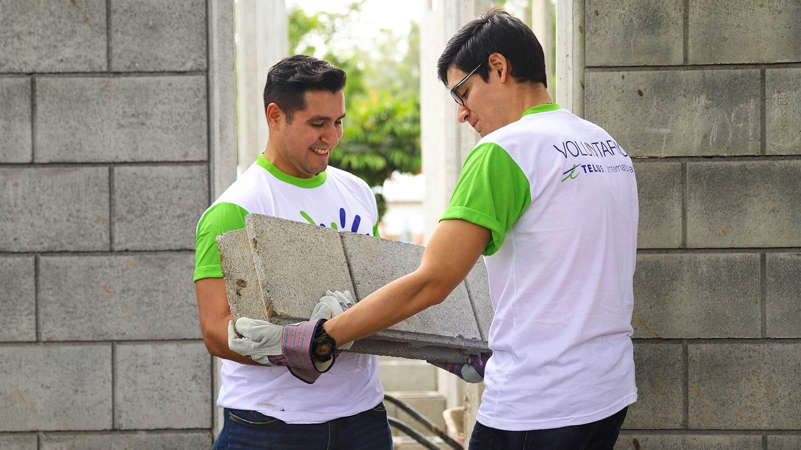 Two male volunteers carrying a concrete slab with safety gloves