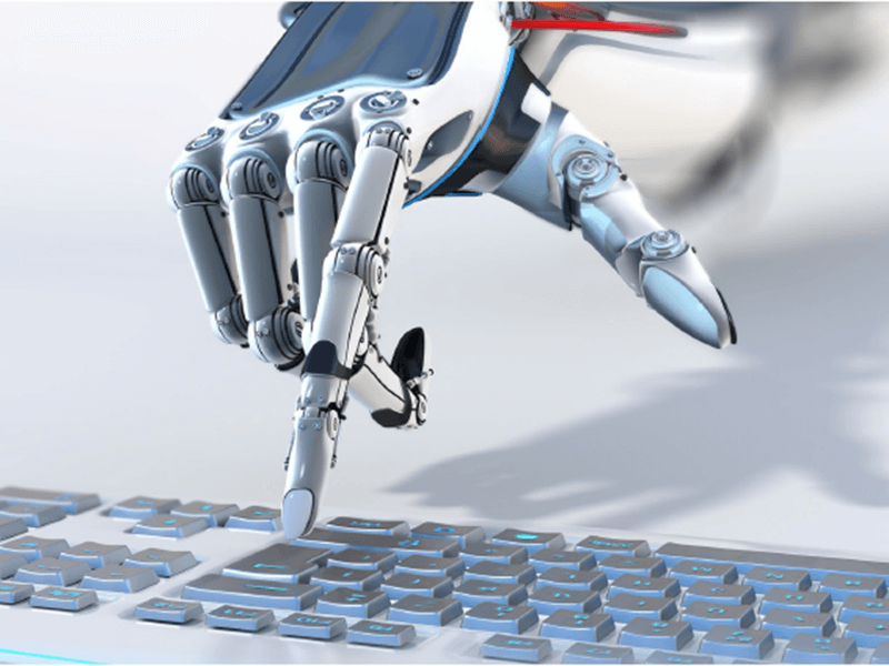 robot hand selecting a key on a keyboard
