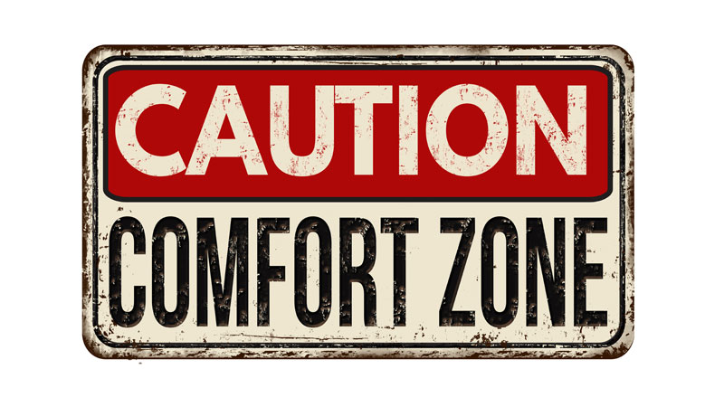 Caution comfort zone sign