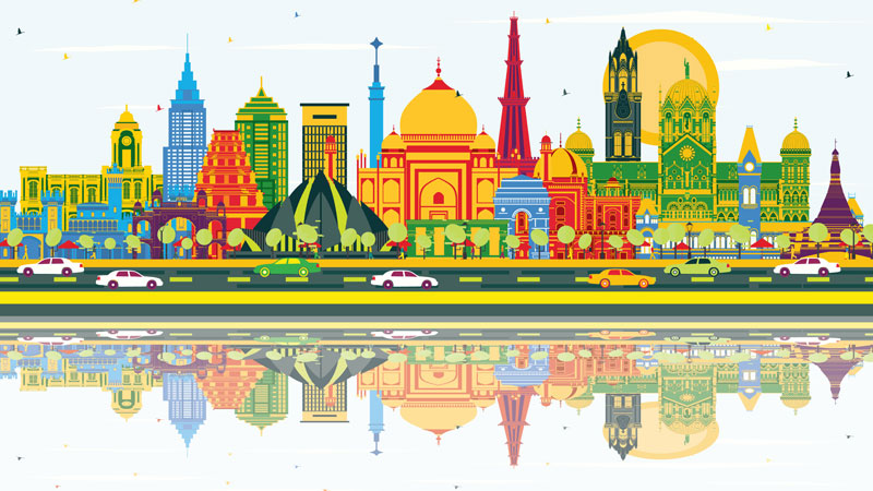 India city skyline with colorful buildings, blue sky and reflections.