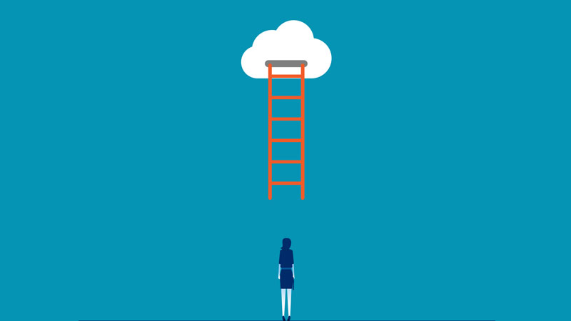 woman staring at a ladder in the clouds