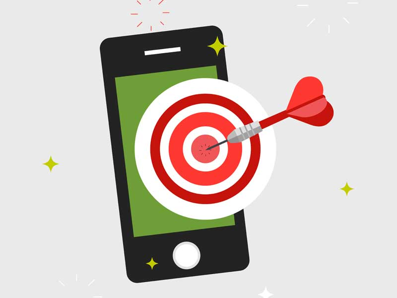 Mobile phone with bulls eye and dart
