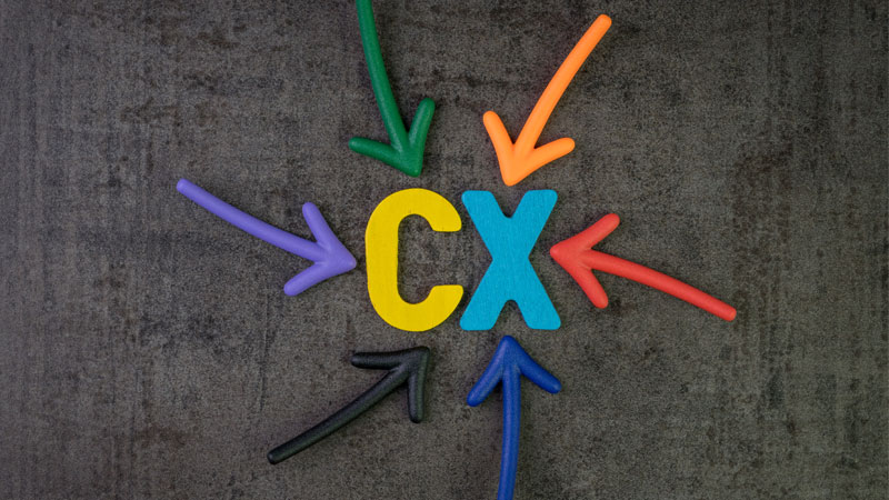 colorful arrows pointing to the letters CX