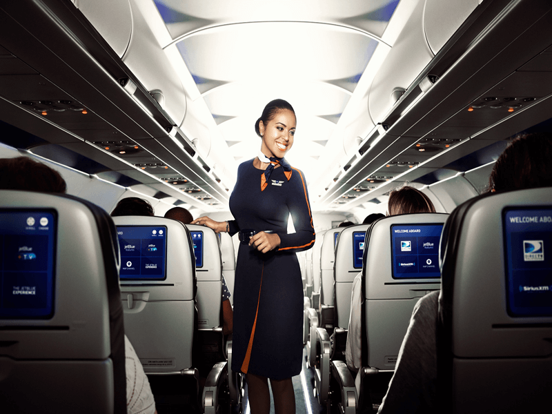 JetBlue customer service flight attendant on plane