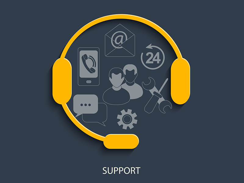 contact center headset surrounding series of customer support channels