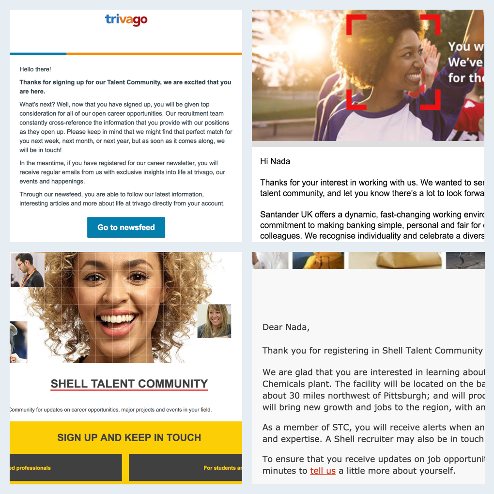 recruiting content examples talent network