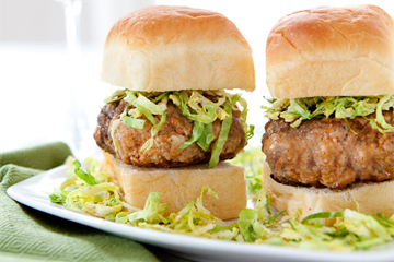 Chorizo Sliders with Shredded Brussel Sprouts