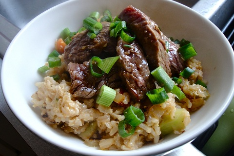 Sticky Beef and Fried Rice Bowl