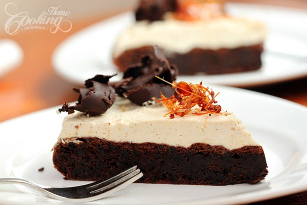 Flourless Chocolate Cake with Salted Caramel Mousse from Home Cooking Adventure