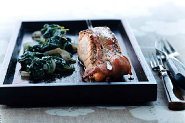 Bacon-Wrapped Salmon with Wilted Spinach from Epicurious