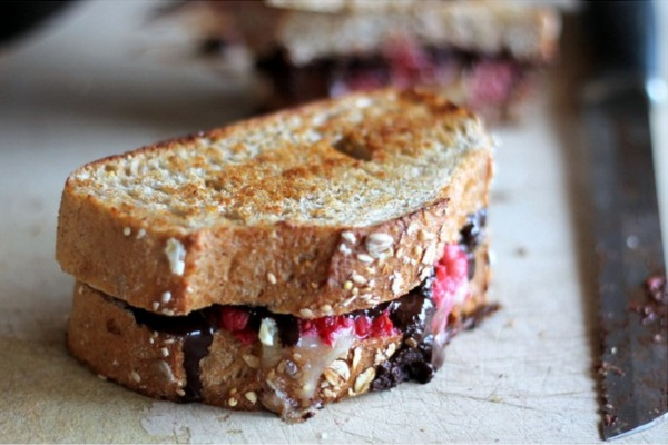 Dark Chocolate, Raspberry, and Brie Grilled Cheese from Ambitious Kitchen