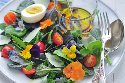 Microleave & Edible Flower Salad