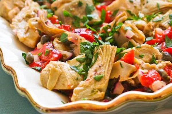 Hot or Cold Artichoke, Red Pepper Salad with Basil Dressing from Kalyn's Kitchen