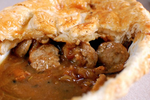 Sage & Sausage Pie with Onion Gravy