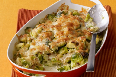 Brussels Sprout and Cauliflower Gratin