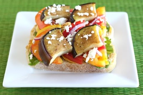 Open Face Vegetable Sandwich