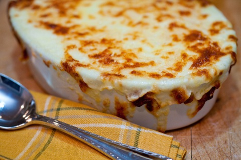 Baked Mashed Potatoes with Grated Gruyere and Parmesan