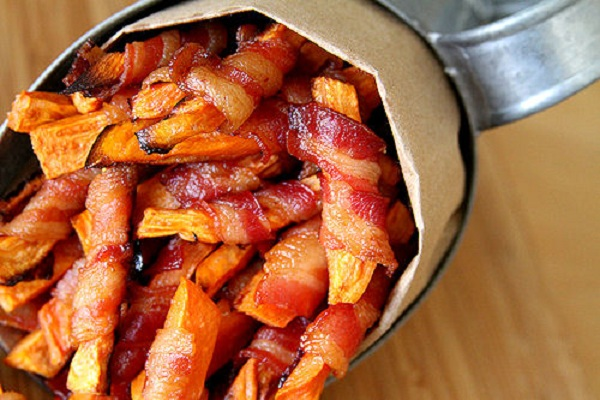Bacon Wrapped Sweet Potato Fries from Cup of Sugar, Pinch of Salt