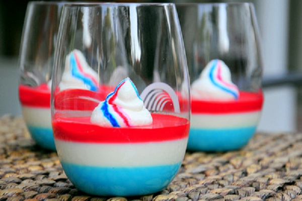 Red, White and Blue Panna Cotta from Baking Bites