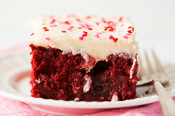 Red Velvet Poke Cake from Brown Eyed Baker