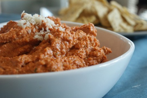 Roasted Red Pepper, Walnut and Poblano Pepper Spread