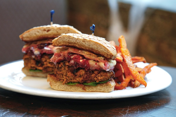The Thanksgivukkah Turkey Burger with stuffing, cranberry sauce, gravy, and a crispy latke from the Rockit Burger Bar