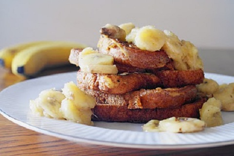 French Toast with Sweet & Salty Buttered Bananas