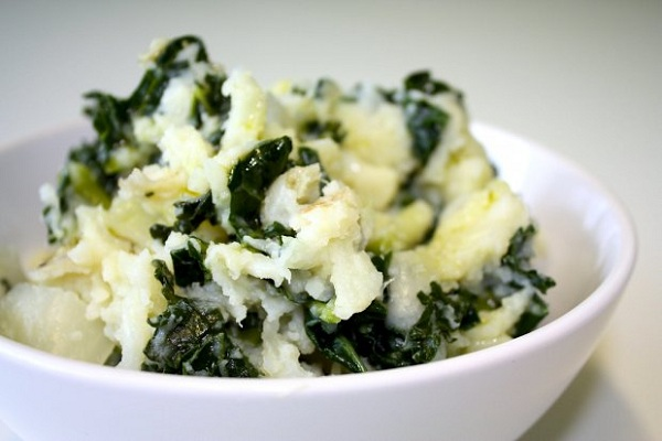 Mashed Potatoes with Goat Cheese and Kale from Food Republic