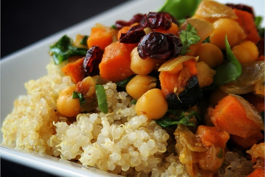 Curried Quinoa with Sweet Potatoes and Spinach