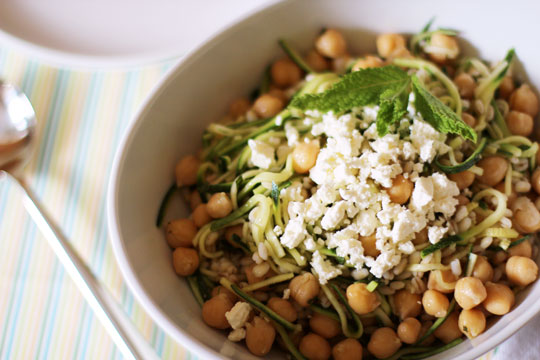 Chickpea, Barley and Zucchini Ribbon Salad with Mint and Feta from The Kitchn Photo by Anjali Prasertong