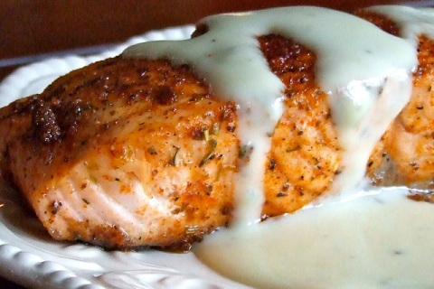 Spicy Blackened Salmon with Blue Cheese Sauce