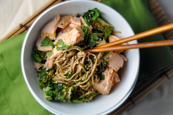Soba Bowls with Tea-Poached Salmon from Turntable Kitchen