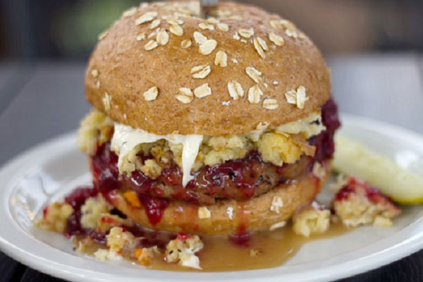 The Thanksgiving Burger with Stuffing, Cranberry Sauce, and Mashed Potatoes from Serious Eats