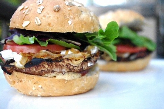 Portobello Mushroom, Goat Cheese, & Caramelized Onion Burger