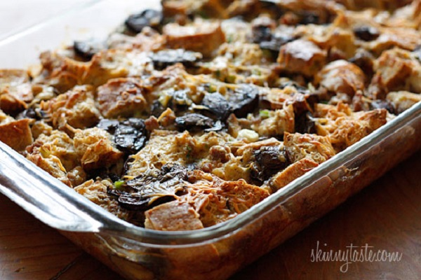 Make-Over Breakfast Sausage and Mushroom Strata from Skinnytaste
