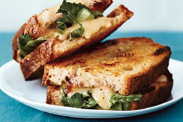 Grilled Cheese with Onion Jam, Taleggio, and Escarole from Epicurious