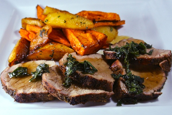 Sage Rubbed Pork Tenderloin with Maple Roasted Sweet Potatoes and Apples by Culinary Ginger
