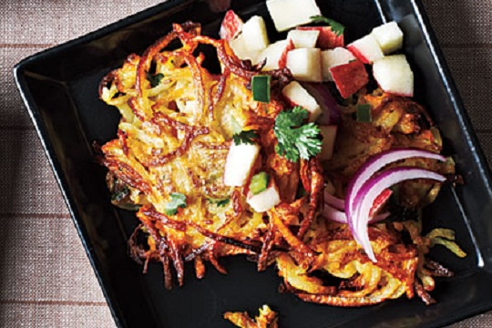 Butternut Squash and Potato Latkes with Apple Salsa