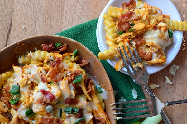 Buffalo Chicken Bacon Cheese Fries from Katie's Cucina