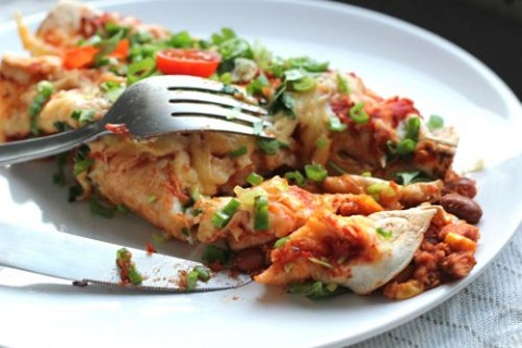 Chicken and Brown Bean Enchiladas