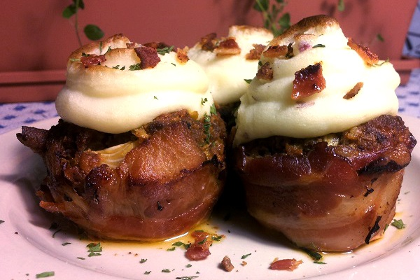 Bacon Wrapped Meatloaf Cupcakes with Mashed Potato Topping from Yummly