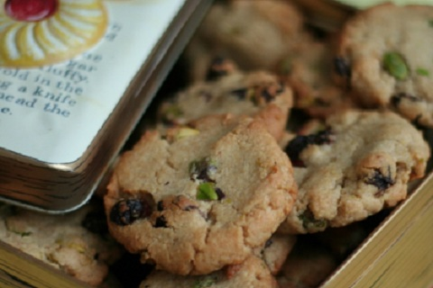 Toasted Oat Cookies with Sour Cherries and Pistachios