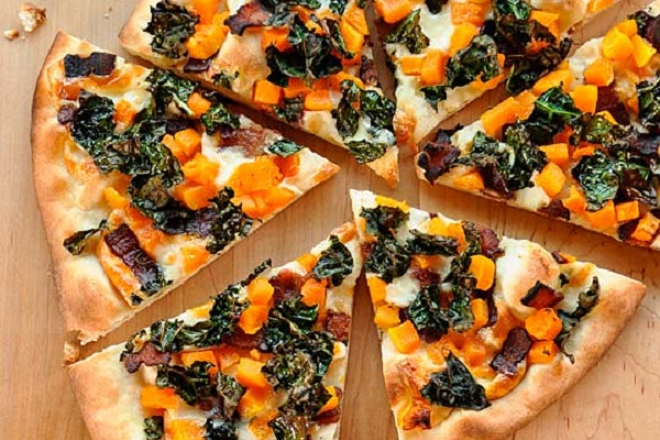 Kale, Butternut Squash, and Bacon Pizza from The Kitchn