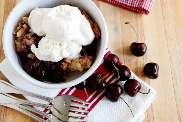 Cherry Almond Cobbler from Baked Bree