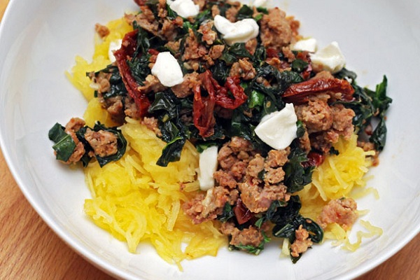 Spaghetti Squash with Sausage, Kale, and Sundried Tomatoes from Serious Eats