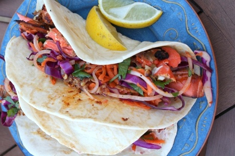 Grilled Blackened Salmon Fish Tacos with Asian Slaw
