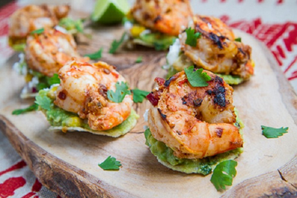 Chipotle Lime Grilled Shrimp and Corn Guacamole Mini Tostadas from Closet Cooking