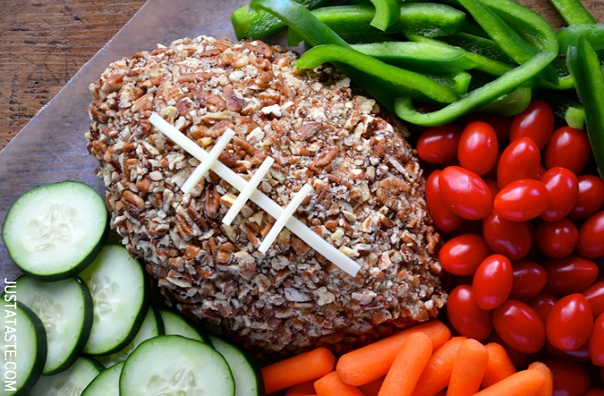 Easy Football Cheese Ball from Just a Taste